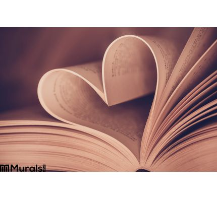 Heart Book Page Close Up Wall Mural Wall art Wall decor
