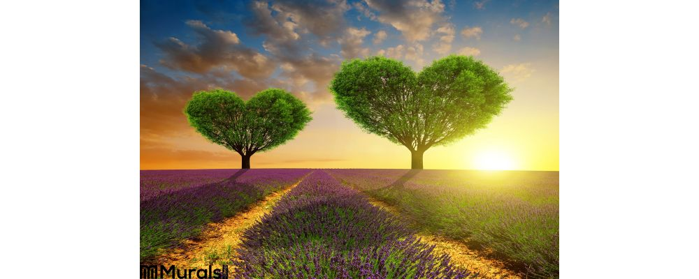 Lavender Fields Trees Shape Heart Sunset Wall Mural