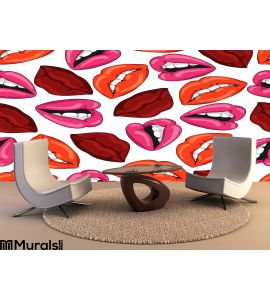 Pattern with red lips. Vector illustration. EPS10 Wall Mural Wall art Wall decor
