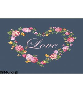 Vintage Floral Heart Wall Mural