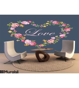 Vintage Floral Heart Wall Mural Wall art Wall decor