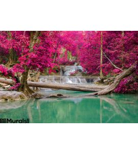 Waterfall Deep Forest Erawan Waterfall National Park Wall Mural Wall art Wall decor