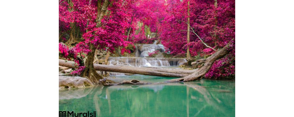 Waterfall Deep Forest Erawan Waterfall National Park Wall Mural