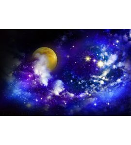 Stars Full Moon Night Sky Wall Mural