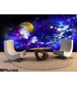 Stars Full Moon Night Sky Wall Mural Wall art Wall decor