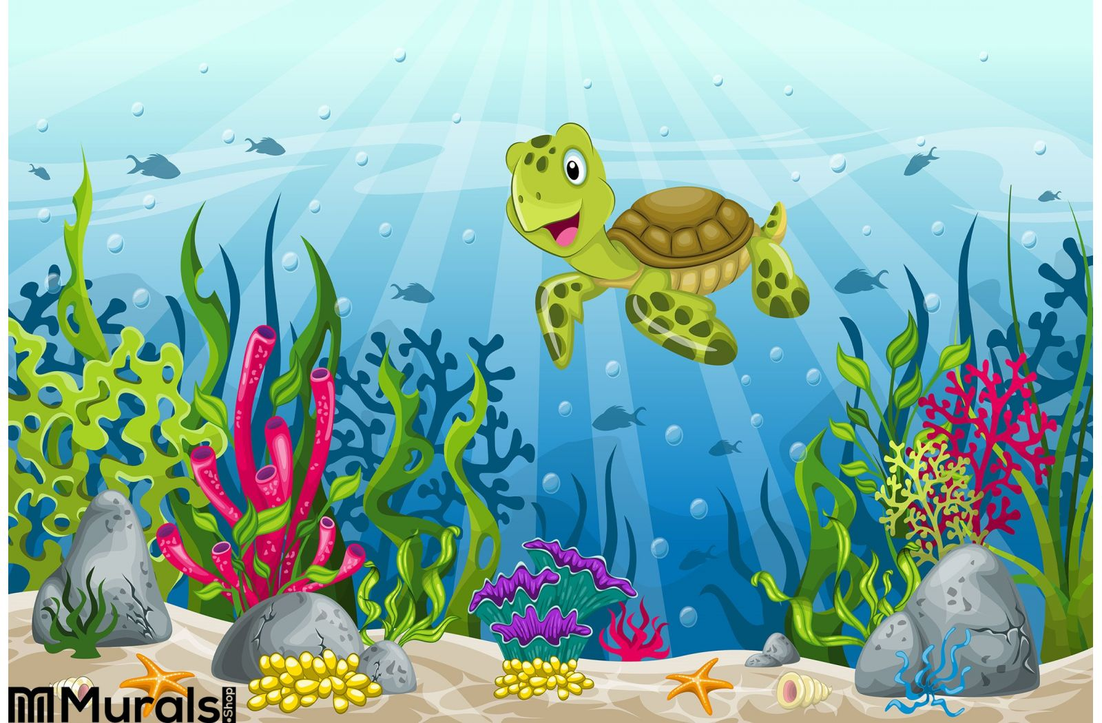 Illustration Of Underwater Landscape Wall Mural