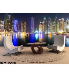 Skyscrapers Dubai Marina Night Uae Wall Mural Wall art Wall decor