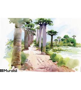 Waterfall Tree Wall Mural