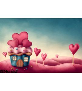 Fantasy cup cake house Wall Mural Wall art Wall decor