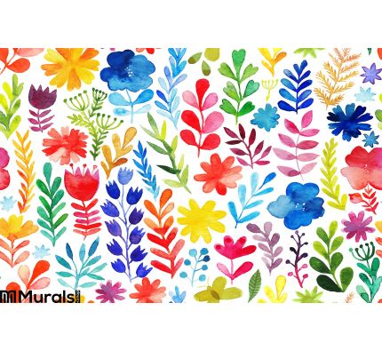 Vector Pattern Flowers Plants Floral Decor Original Floral Seamless Background Wall Mural Wall art Wall decor
