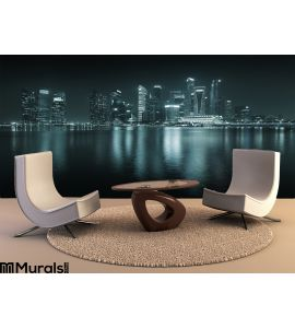 Singapore Skyline Night Skyscrapers Reflections Wall Mural Wall art Wall decor