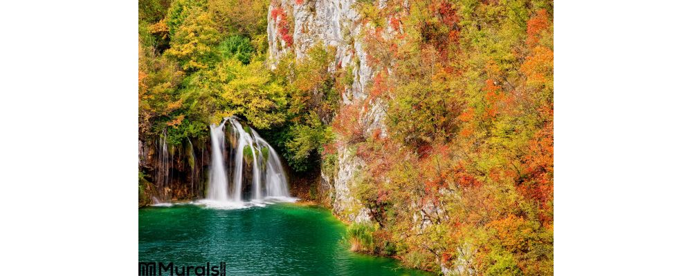 Waterfall Autumn Forest Wall Mural