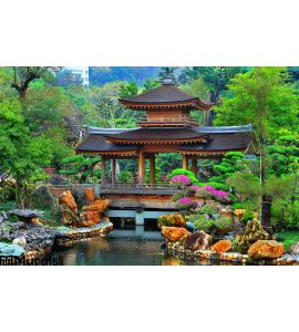 Pagoda Chinese Zen Garden Wall Mural Wall art Wall decor