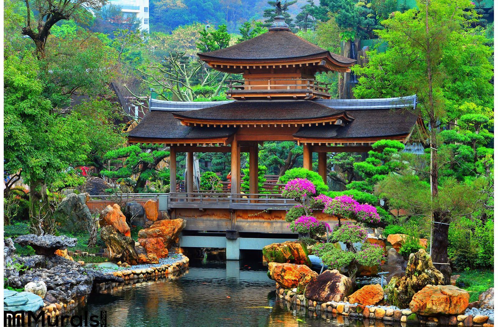 Pagoda Chinese Zen Garden Wall Mural