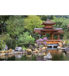 Chinese Zen Garden Pagoda Wall Mural Wall art Wall decor