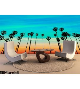 California Sunset Palm Tree Rows Santa Barbara Wall Mural Wall art Wall decor