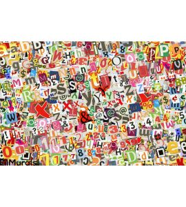 Colorful Letters Collage Wall Mural