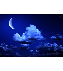Big Moon Stars Cloudy Night Blue Sky Wall Mural Wall art Wall decor