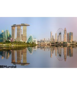 Singapore Skyline and view of Marina Bay. Modern, city. Wall Mural