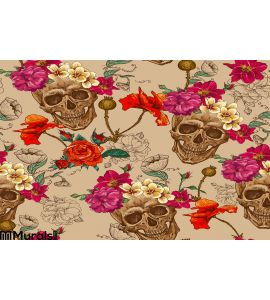 Skull and Flowers Seamless Background. Calavera, festival. Wall Mural