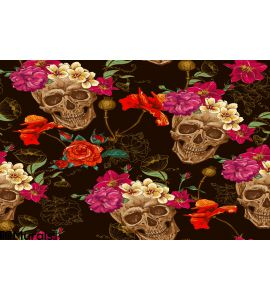 Skull and Flowers Seamless Background. Illustration, drawn. Wall Mural