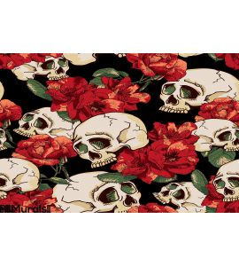 Skull and Flowers Seamless Background Wall Mural