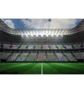 Large football stadium under spotlights Wall Mural Wall Tapestry tapestries