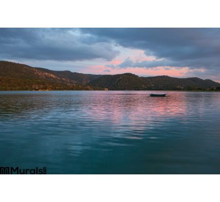 Boat Reservoir Dusk Wall Mural Wall Tapestry tapestries