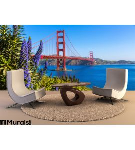 Golden Gate Bridge San Francisco Purple Flowers California Wall Mural Wall Tapestry tapestries