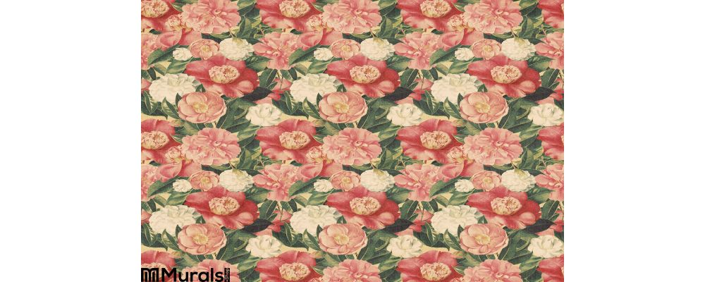 Vintage Style Floral Background Pink Blooms Wall Mural