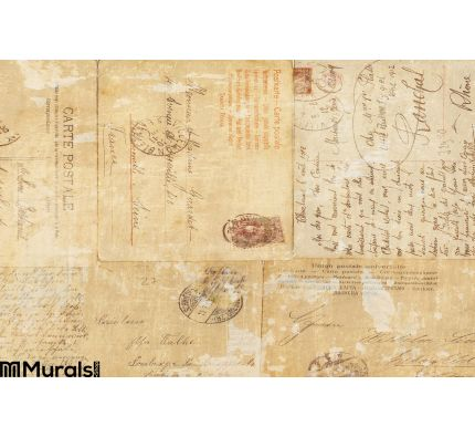 Grungy Vintage Postcard Ephemera Collage Background Wall Mural Wall Tapestry tapestries