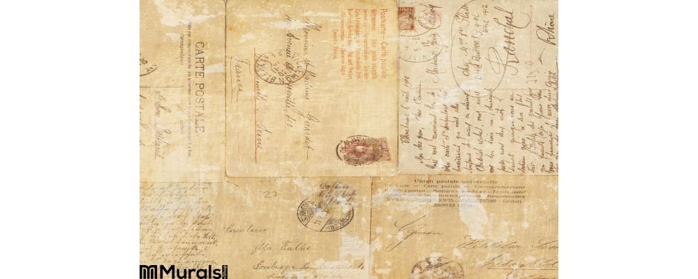 Grungy Vintage Postcard Ephemera Collage Background Wall Mural