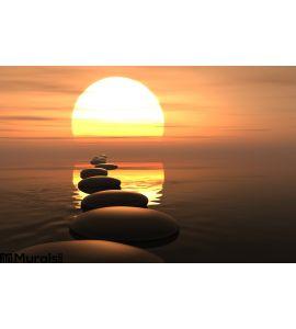 Zen Path Stones Sunset Wall Mural