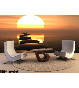 Zen Path Stones Sunset Wall Mural Wall Tapestry tapestries