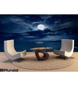Full moon over sea Wall Mural Wall Tapestry tapestries