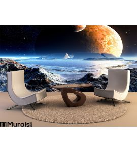 Alien Arena Ruins Under Two Moons Wall Mural Wall Tapestry tapestries