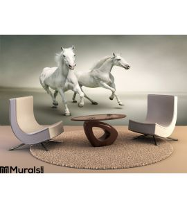 White Horses Wall Mural Wall Tapestry tapestries