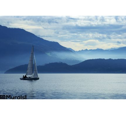 Sailing Lake Zug Wall Mural Wall Tapestry tapestries