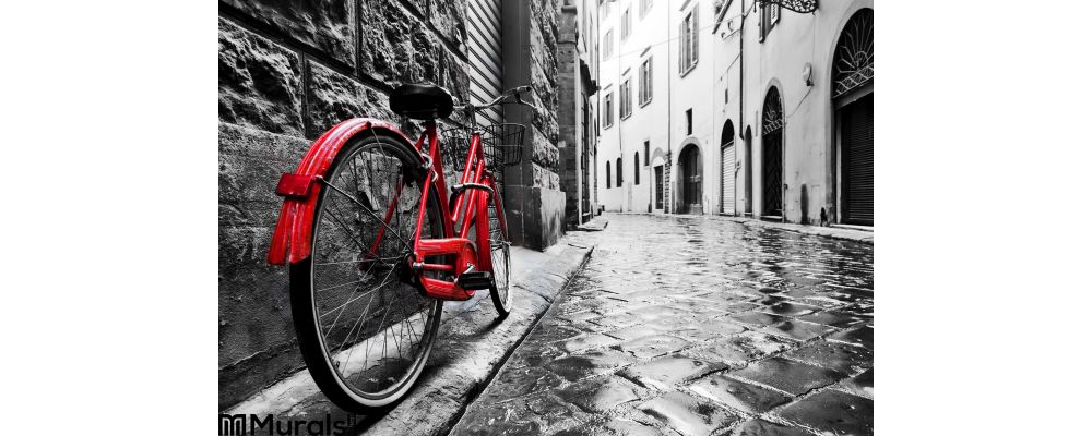 Retro Vintage Red Bike Cobblestone Street Old Town Color Black White Wall Mural