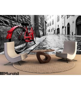 Retro Vintage Red Bike Cobblestone Street Old Town Color Black White Wall Mural Wall Tapestry tapestries
