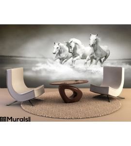Herd White Horses Running Water Wall Mural Wall Tapestry tapestries