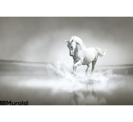 White Horse Running Water Wall Mural Wall Tapestry tapestries