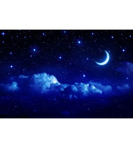 Starry Sky Half Moon Scenic Cloudscape Wall Mural Wall art Wall decor