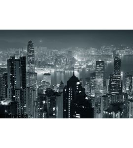 Hong Kong Night Black White Wall Mural Wall art Wall decor