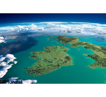 Fragments of the planet Earth. Ireland and UK Wall Mural Wall art Wall decor