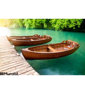 Wooden Boats Wall Mural