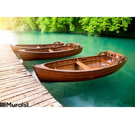 Wooden Boats Wall Mural Wall art Wall decor
