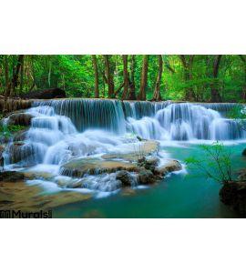 Deep Forest Waterfall Kanchanaburi Thailand Wall Mural Wall art Wall decor