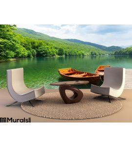 Wooden boats at pier on mountain lake Wall Mural Wall Tapestry tapestries