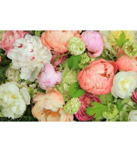 Peonies Wedding Arrangement Wall Mural